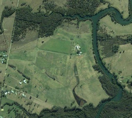 aerial view of thoroughbred horse agistment property farm